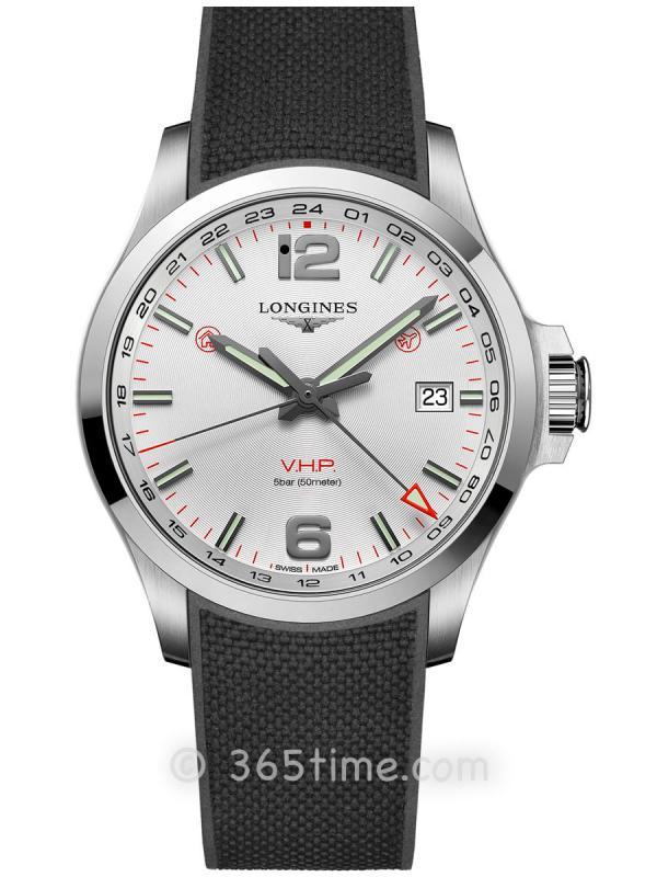 浪琴康卡斯系列V.H.P.GMT光感设置男士石英腕表L3.728.4.76.9