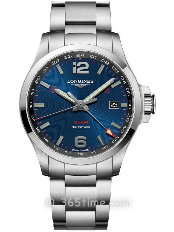 浪琴康卡斯系列V.H.P.GMT光感设置男士石英腕表L3.728.4.96.6