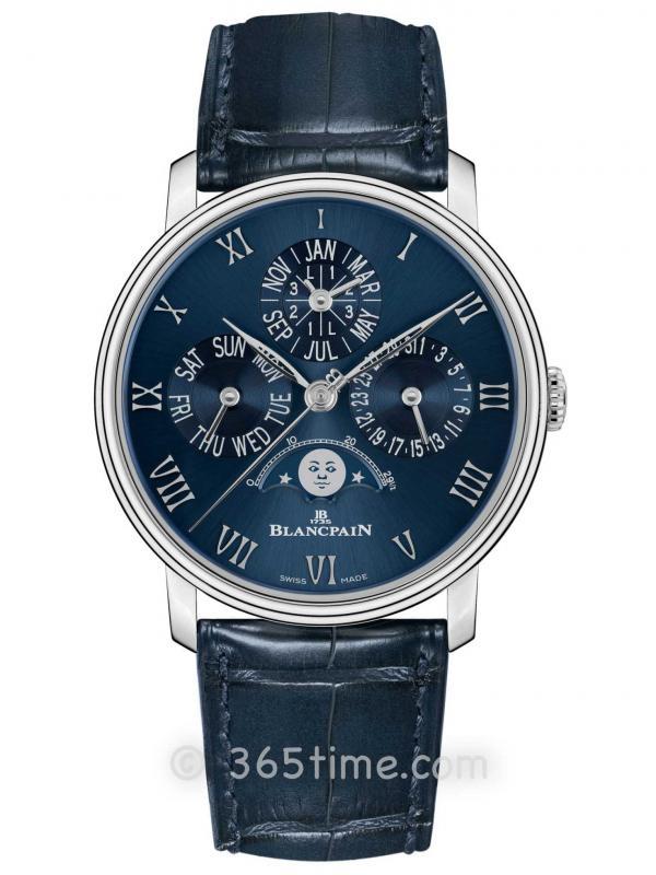 Blancpain宝珀Villeret系列6656-3440-55B铂金蓝色盘万年历腕表精品店版本