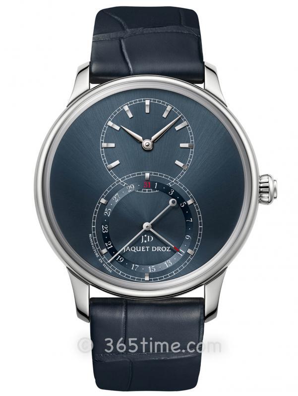 雅克德罗蓝色缎面日期显示大秒针腕表J007010244
