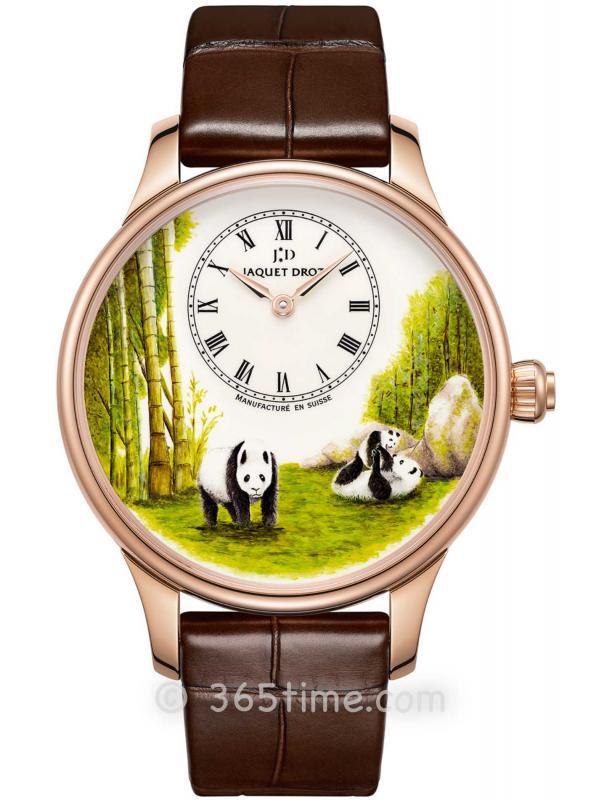 雅克德罗熊猫熊猫图案时分小针盘腕表J005013225