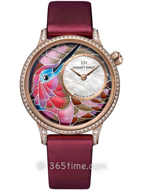 雅克德罗艺术工坊系列J005503501空窗珐琅蜂鸟时分小针盘腕表