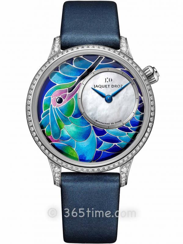 雅克德罗艺术工坊系列J005504501空窗珐琅蜂鸟时分小针盘腕表