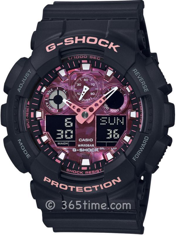 CASIO卡西欧G-SHOCK系列炫彩时尚双显运动防水限量款男表GA100TCB-1A