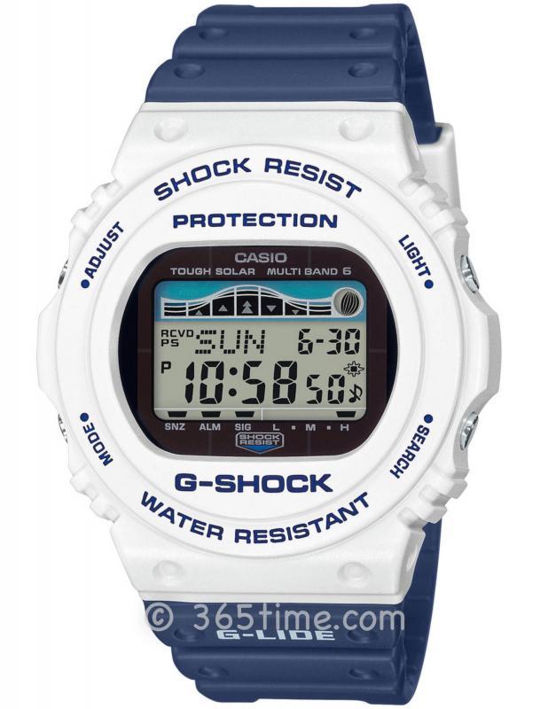 CASIO卡西欧G-SHOCK冲浪系列太阳能6局电波腕表GWX-5700SS-7