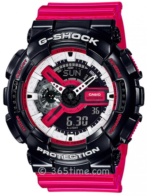 Casio卡西欧G-SHOCK系列太阳能六局电波运动休闲腕表GA-110RB-1A