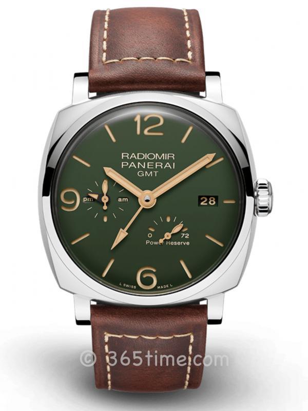 Panerai沛纳海Radiomir系列军绿色表盘GMT两地时间腕表PAM00999