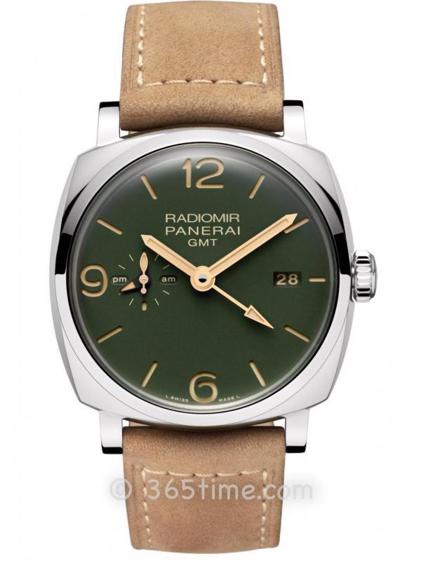 Panerai沛纳海Radiomir系列军绿色表盘GMT两地时间腕表PAM00998
