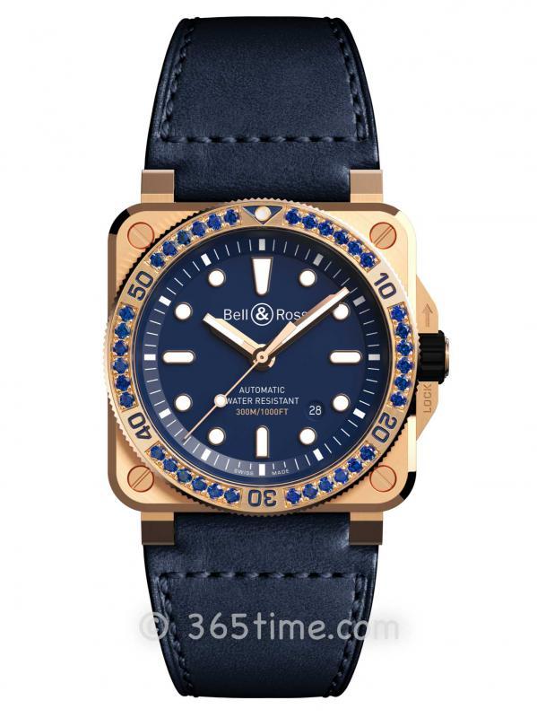 Bell& Ross柏莱士BR03-92 Diver Blue Bronze Sapphire Bezel限量款(型号:BR0392-D-BU-BR-LGS)