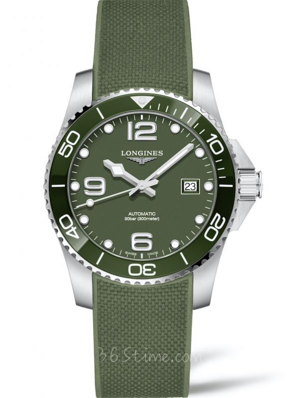 Longines浪琴HydroConques康卡斯系列军绿色潜水表L3.781.4.06.9