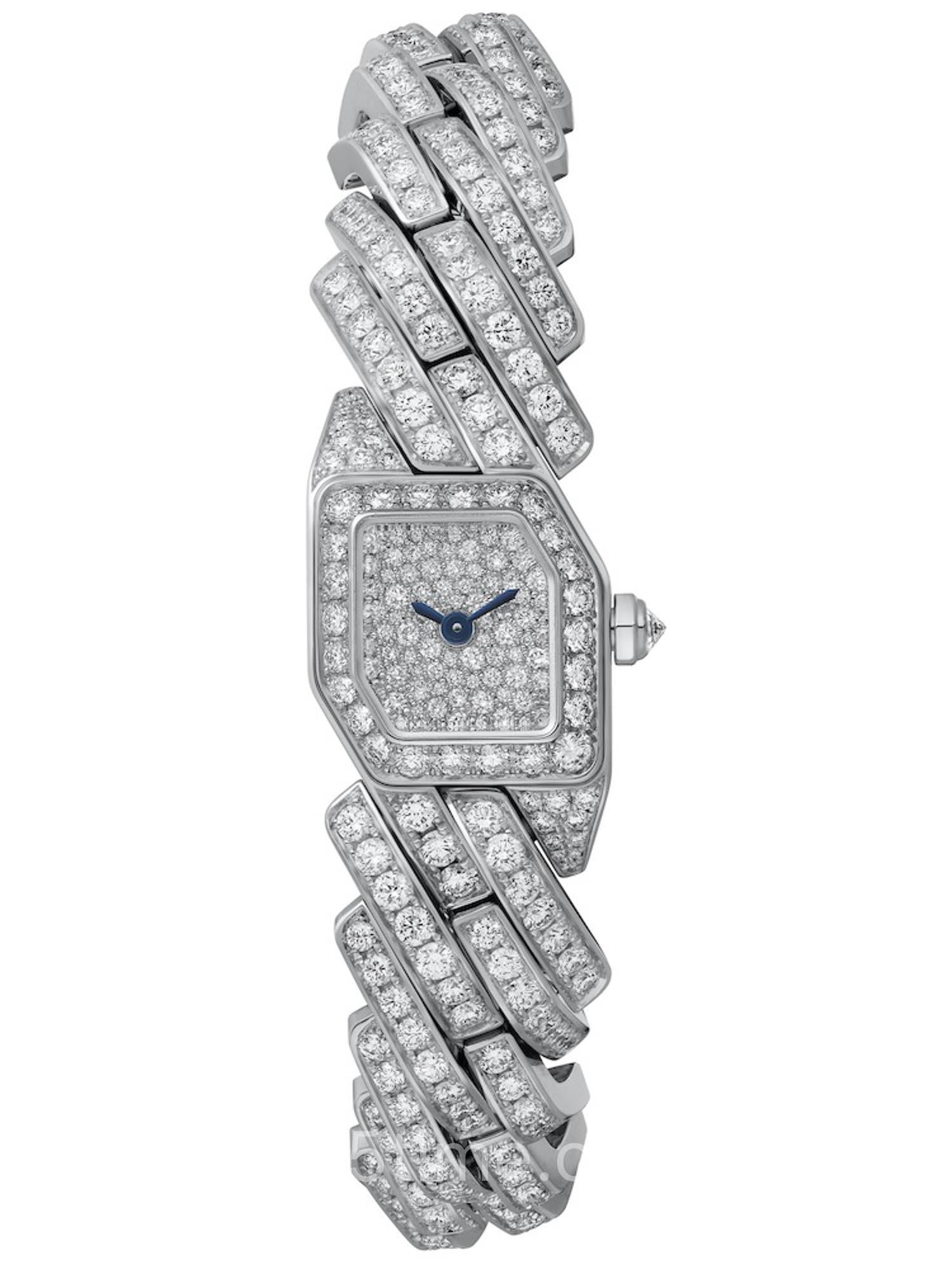 卡地亚Maillon de Cartier系列18K白金镶钻女装腕表WJBJ0005