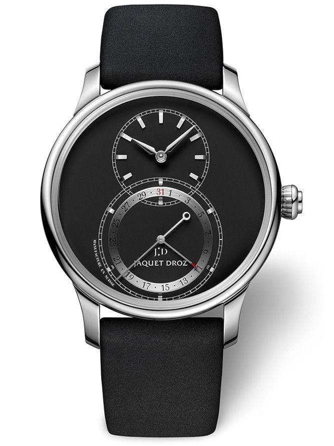 雅克德罗黑色哑光日期显示大秒针腕表J007020349