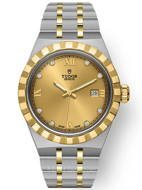 帝舵皇家钢表壳黄金表圈28毫米镶钻M28303-0006