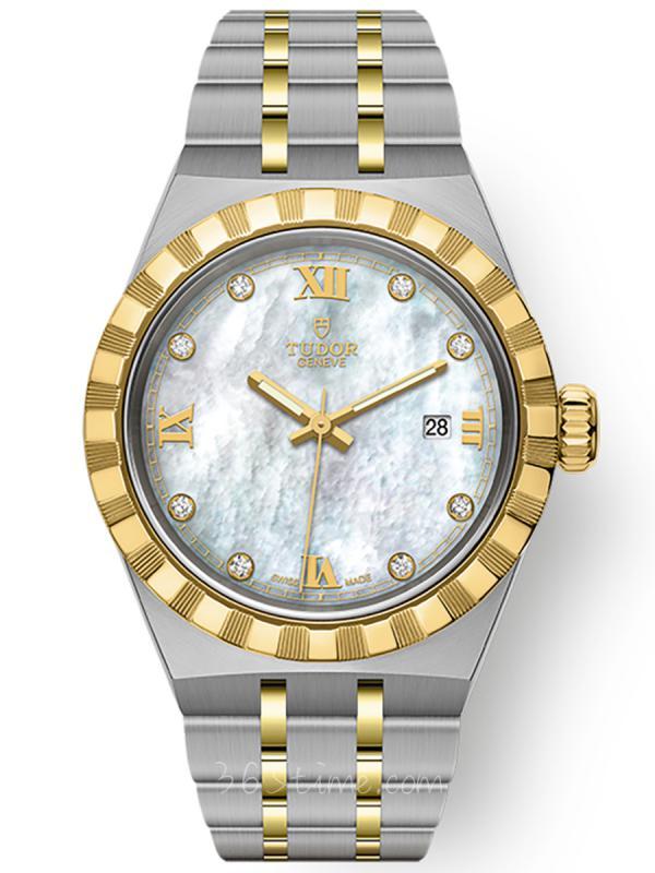 帝舵皇家钢表壳黄金表圈28毫米镶钻M28303-0007