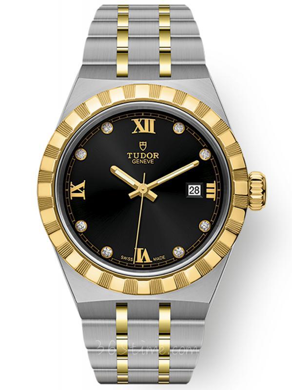 帝舵皇家钢表壳黄金表圈28毫米镶钻M28303-0005