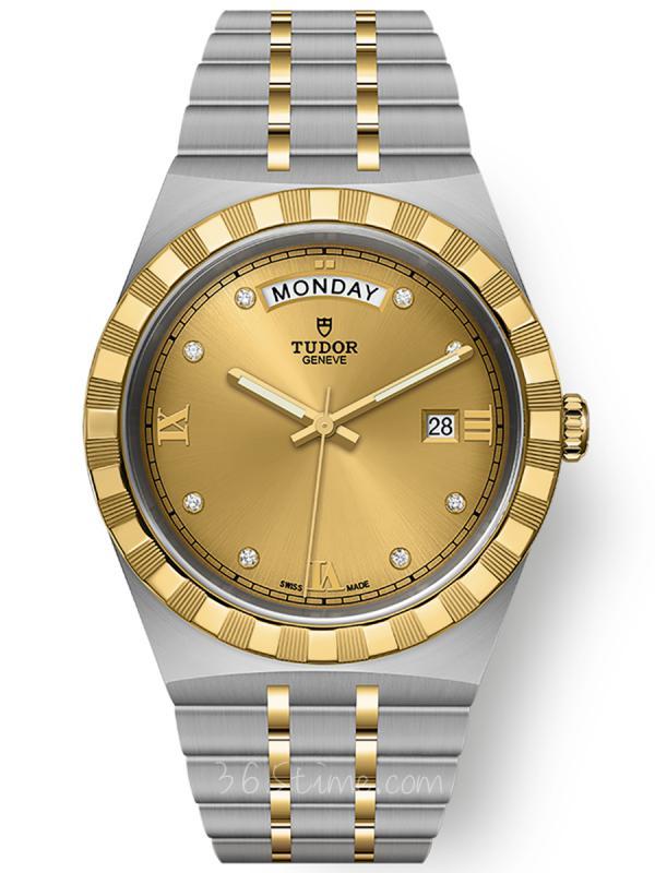 帝舵皇家钢表壳黄金表圈41毫米镶钻星期日历M28603-0006