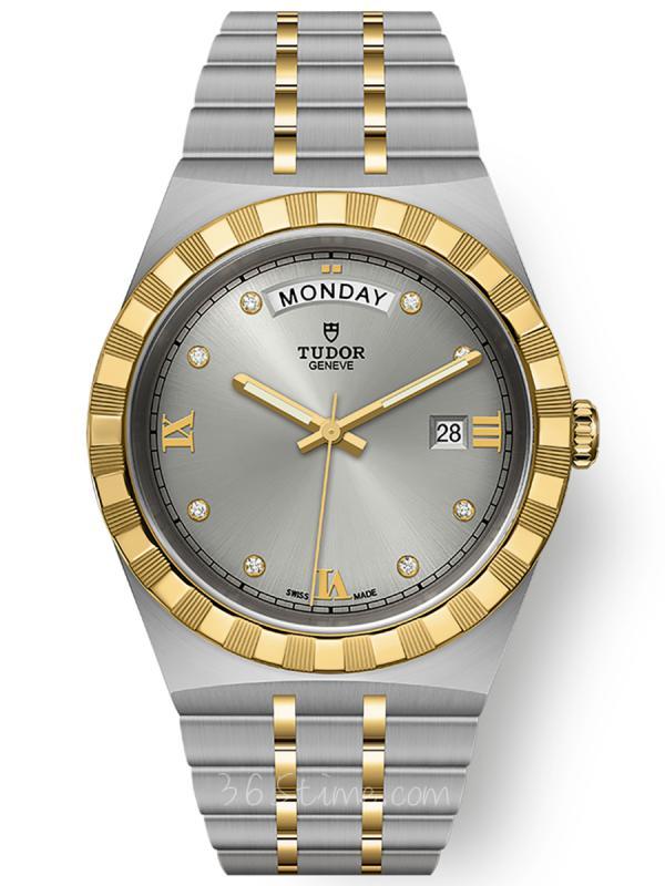 帝舵皇家钢表壳黄金表圈41毫米镶钻星期日历M28603-0002