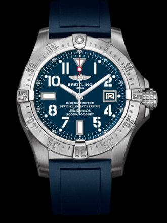 百年灵深潜海狼腕表系列A1733010/C756蓝深潜胶带