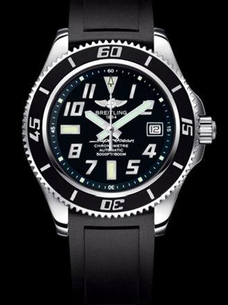 百年灵超级海洋42腕表系列A1736402/BA28黑深潜胶带