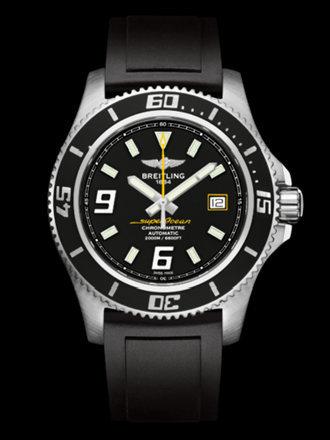 百年灵超级海洋44腕表系列A1739102/BA78黑深潜胶带