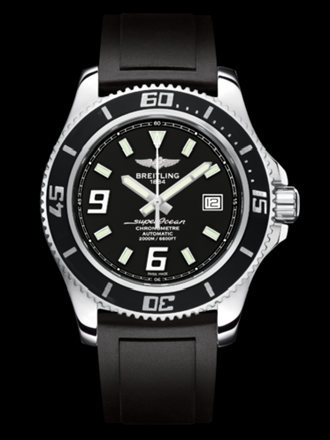 百年灵超级海洋44腕表系列A17391A8/BA77黑深潜胶带