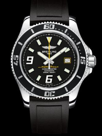 百年灵超级海洋44腕表系列A17391A8/BA78黑深潜胶带