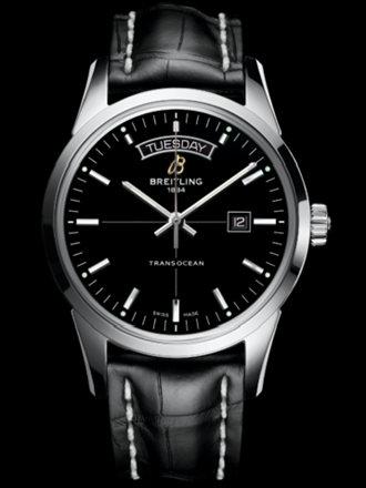 百年灵越洋双历腕表系列A4531012/BB69黑鳄鱼皮带