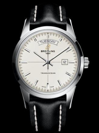 百年灵越洋双历腕表系列A4531012/G751黑皮带