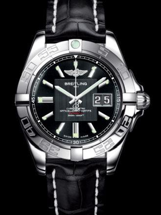 百年灵银河41腕表系列A49350L2/BA07黑鳄鱼皮带