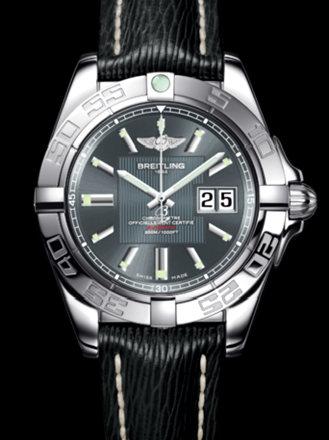 百年灵银河41腕表系列A49350L2/F549黑SAHARA皮带
