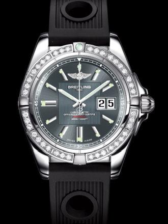 百年灵银河41腕表系列A49350LA/F549黑海洋竞赛胶带