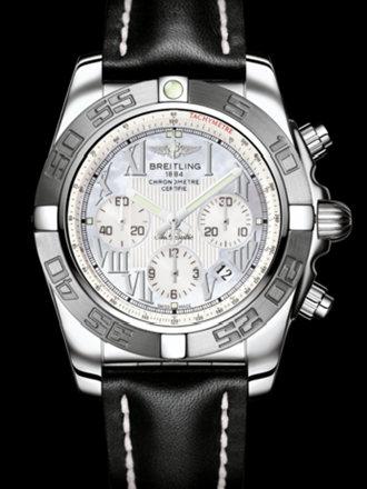 百年灵机械计时终极计时腕表系列AB011011/A691黑皮带