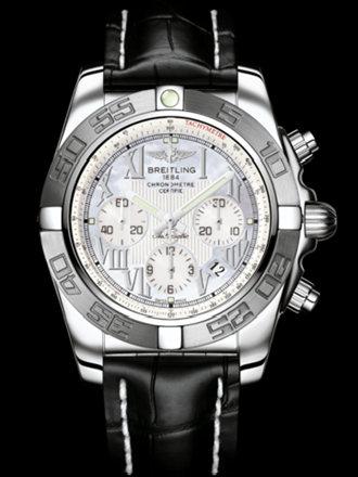 百年灵机械计时终极计时腕表系列AB011011/A691黑鳄鱼皮带