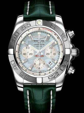 百年灵机械计时终极计时腕表系列AB011011/G685绿鳄鱼皮带