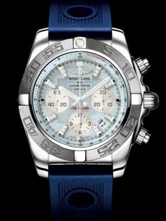 百年灵机械计时终极计时腕表系列AB011011/G686蓝海洋竞赛胶带