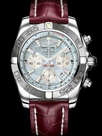 百年灵机械计时终极计时腕表系列AB011011/G686蓝鳄鱼皮带