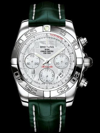 百年灵机械计时41腕表系列AB014012/A746绿鳄鱼皮带