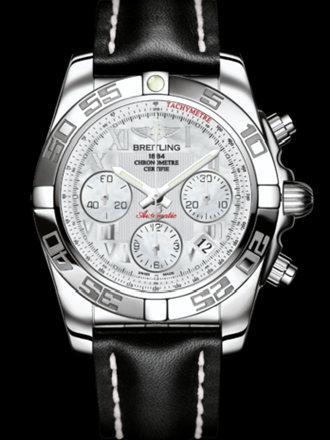 百年灵机械计时41腕表系列AB014012/A746黑皮带