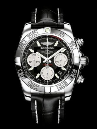 百年灵机械计时41腕表系列AB014012/BA52黑鳄鱼皮带