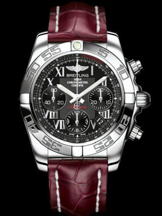 百年灵机械计时41腕表系列AB014012/BC04红鳄鱼皮