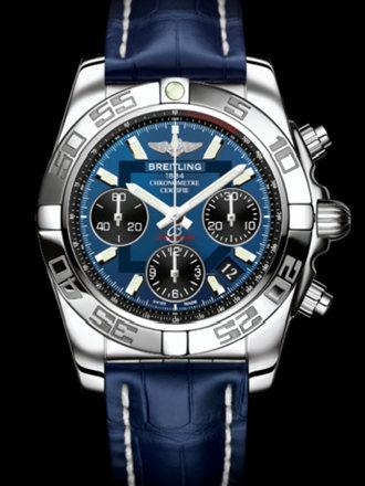 百年灵机械计时41腕表系列AB014012/C830蓝鳄鱼皮带