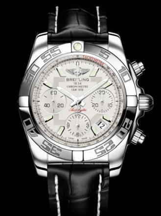百年灵机械计时41腕表系列AB014012/G711黑鳄鱼皮带
