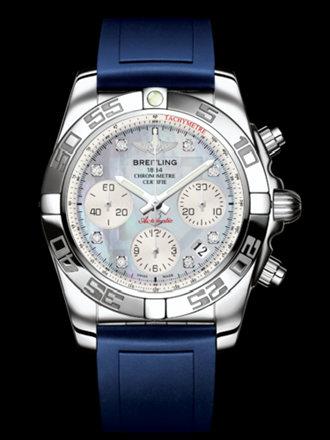 百年灵机械计时41腕表系列AB014012/G712蓝深潜胶带
