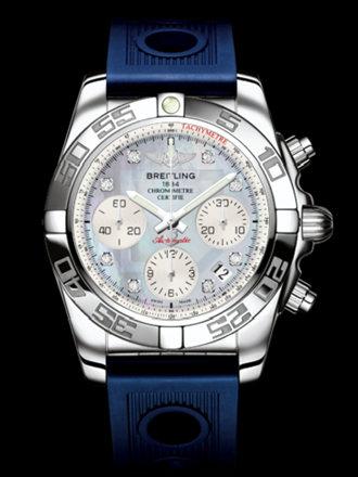 百年灵机械计时41腕表系列AB014012/G712蓝海洋竞赛胶带