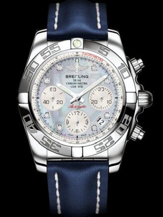 百年灵机械计时41腕表系列AB014012/G712蓝皮带