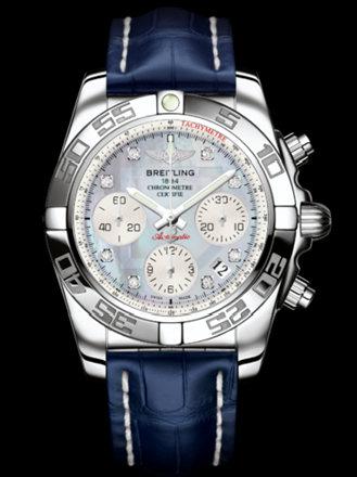 百年灵机械计时41腕表系列AB014012/G712蓝鳄鱼皮带