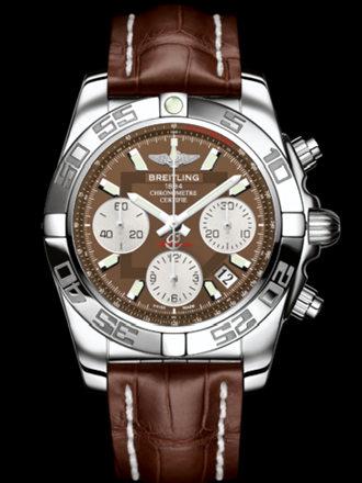 百年灵机械计时41腕表系列AB014012/Q583棕鳄鱼皮带