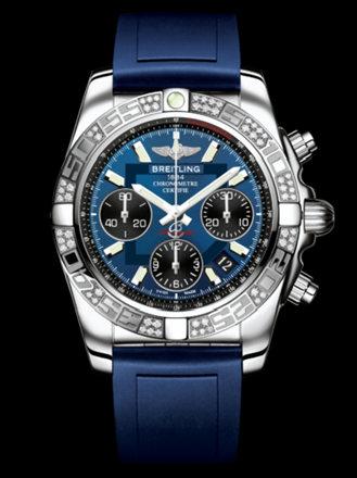 百年灵机械计时41腕表系列AB0140AA/C830蓝深潜胶带
