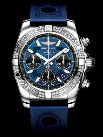 百年灵机械计时41腕表系列AB0140AA/C830蓝海洋竞赛胶带