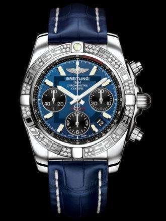 百年灵机械计时41腕表系列AB0140AA/C830蓝鳄鱼皮带